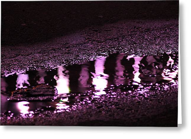Greeting Card featuring the photograph Puddle In Purple Reflection by Carolina Liechtenstein