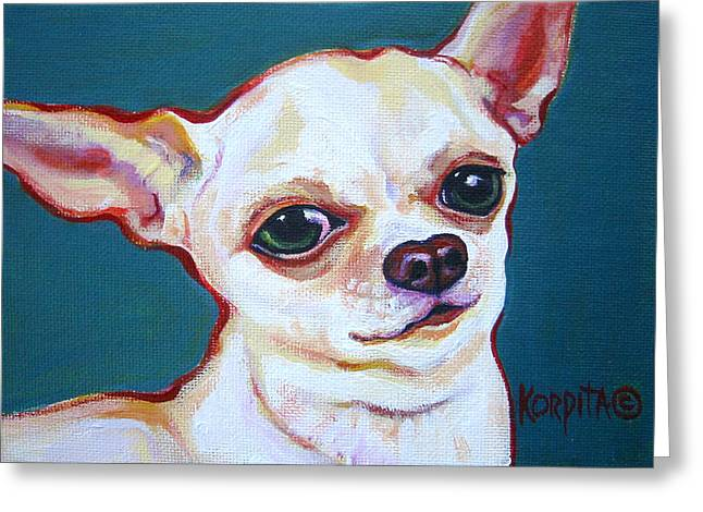 White Chihuahua - Puddy Greeting Card by Rebecca Korpita