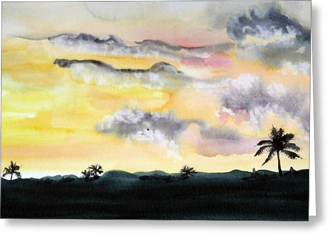 Puerto Rico Sunset Greeting Card by Diane Vasarkovy