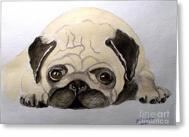 Pug Greeting Card by Carol Grimes