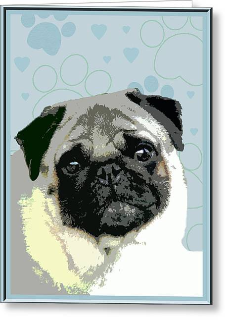 Pug Greeting Card by One Rude Dawg Orcutt