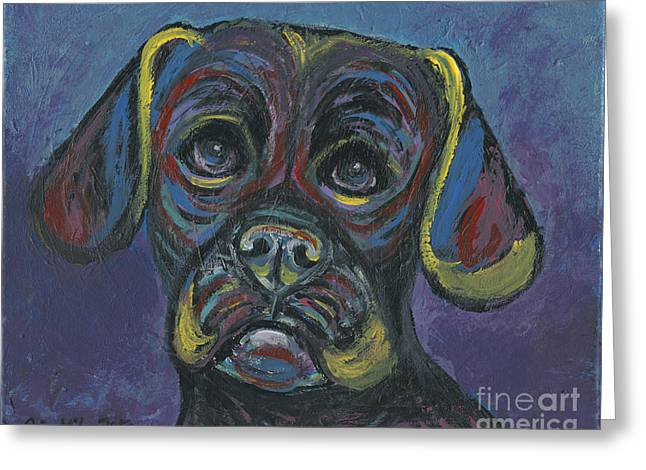 Puggle In Abstract Greeting Card
