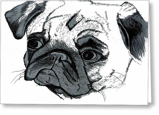 Pugsly Greeting Card