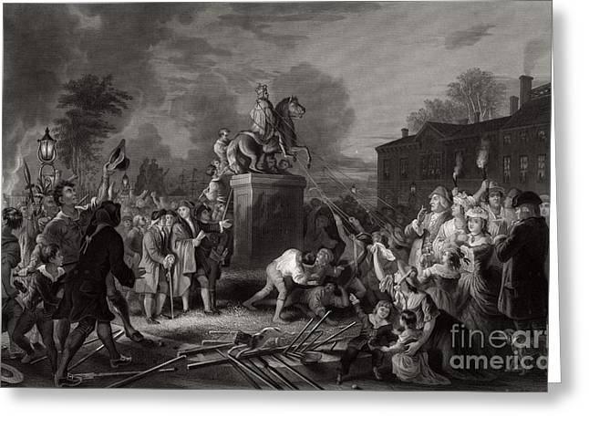 Pulling Down Statue Of George IIi, Nyc Greeting Card by Photo Researchers