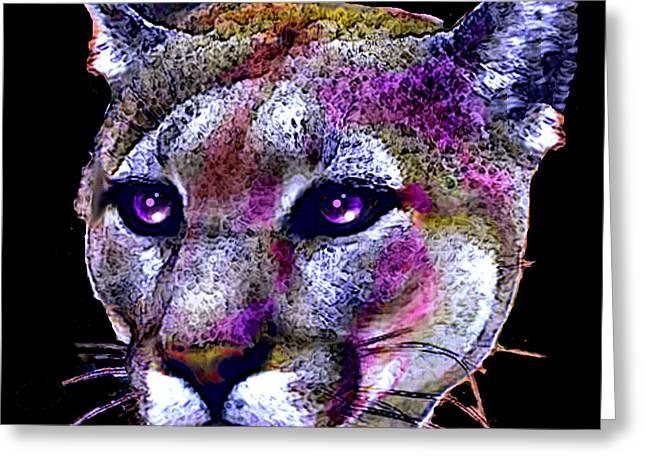 Puma Portrait Greeting Card by Elinor Mavor
