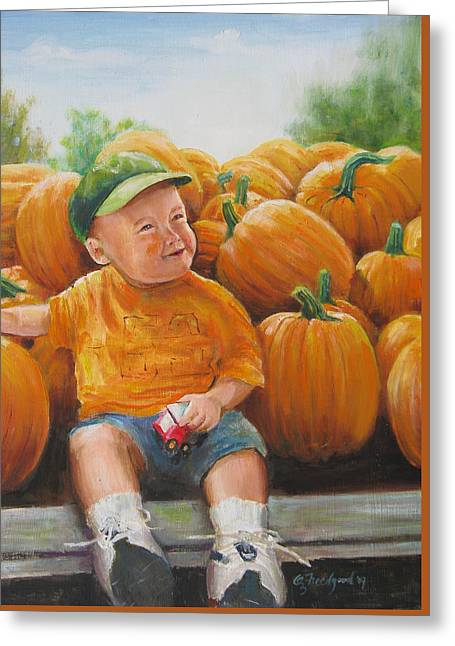 Greeting Card featuring the painting Pumkin Boy by Oz Freedgood