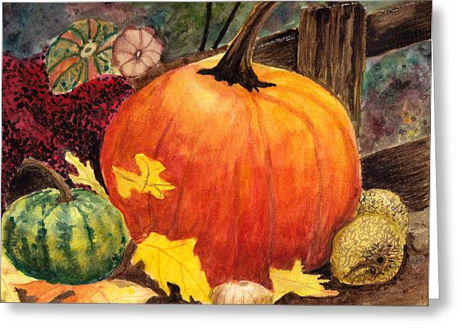 Pumpkin And Gourds Greeting Card by John Small