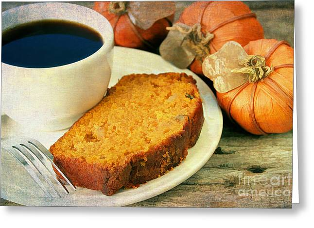 Pumpkin Bread And Coffee Greeting Card by Darren Fisher