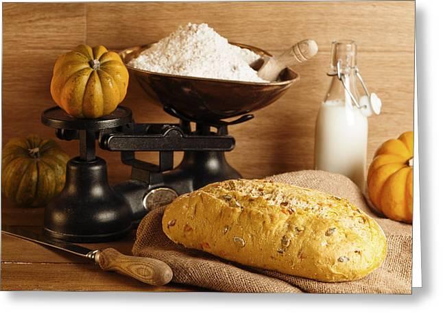 Pumpkin Bread Greeting Card by Amanda Elwell