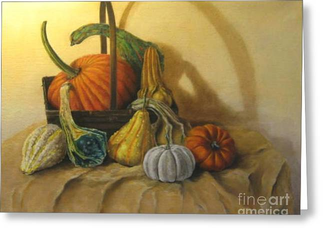 Pumpkin In A Basket Greeting Card
