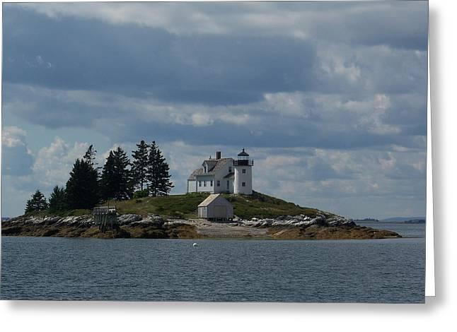 Pumpkin Island Lighthouse Greeting Card by Joseph Rennie