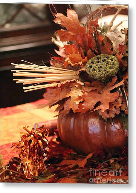Pumpkin Leaf Decor Greeting Card