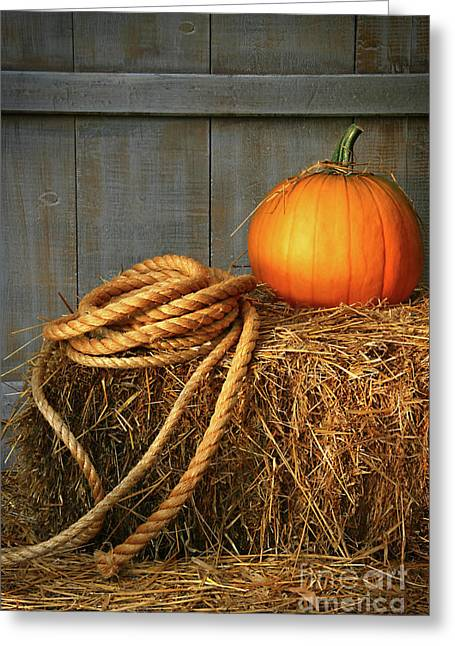Pumpkin On A Bale Of Hay Greeting Card by Sandra Cunningham