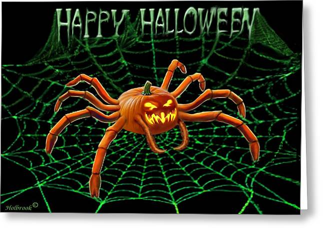 Pumpkin Spider Greeting Card by Glenn Holbrook