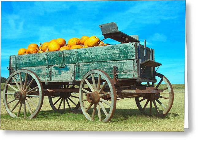 Greeting Card featuring the photograph Pumpkin Wagon by Susi Stroud