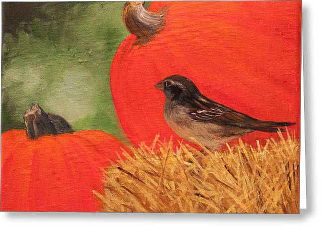Greeting Card featuring the painting Pumpkins And Sparrow by Janet Greer Sammons