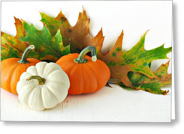 Pumpkins Autumns Leaves And Gourds Greeting Card