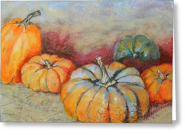 Pumpkins Greeting Card by Hilda Vandergriff