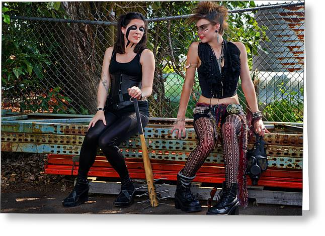 Punk Women Greeting Card by Jim Boardman