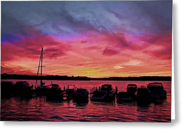 Punta Gorda Sunset Greeting Card by Sandy Poore