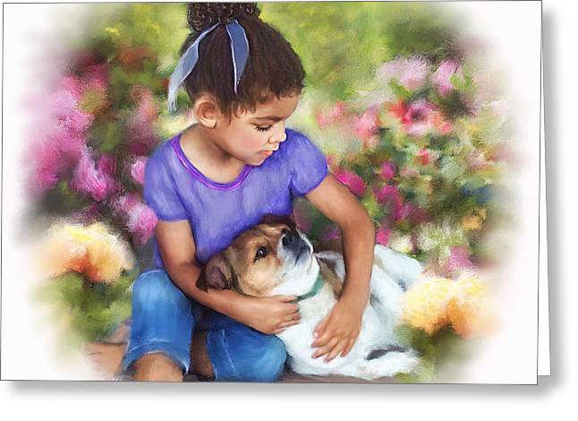 Puppy Love Greeting Card by Dawn Serkin