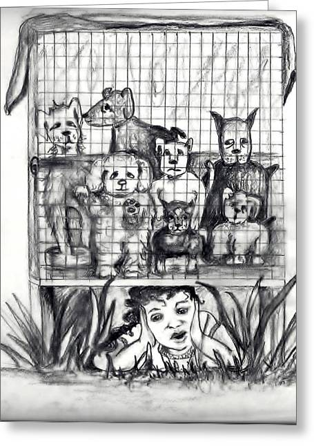 Puppy Mill Discovered Greeting Card by Carol Allen Anfinsen