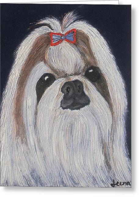 Puppy - Nib Painting Greeting Card by Rejeena Niaz