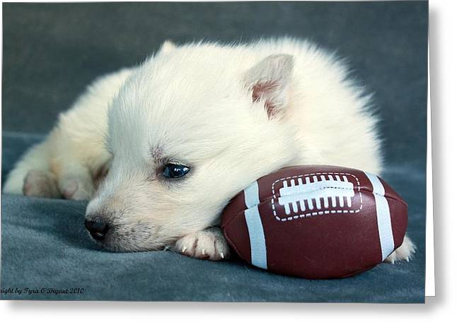 Puppy With Football Greeting Card