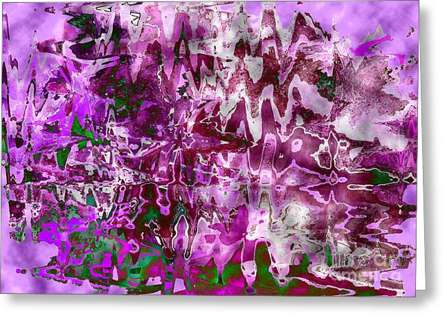 Purple Abstract Greeting Card by Carol Groenen