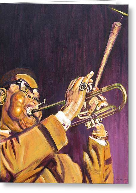 Purple And Gold Dizzy Gillespie Greeting Card