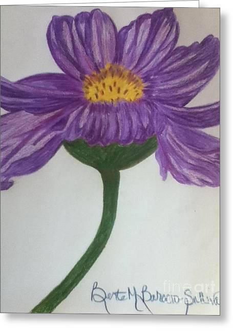 Purple Cosmo Greeting Card by Berta Barocio-Sullivan