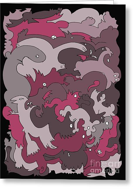 Purple Creatures Greeting Card