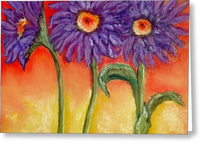 Purple Daisies Greeting Card by Annamarie Sidella-Felts