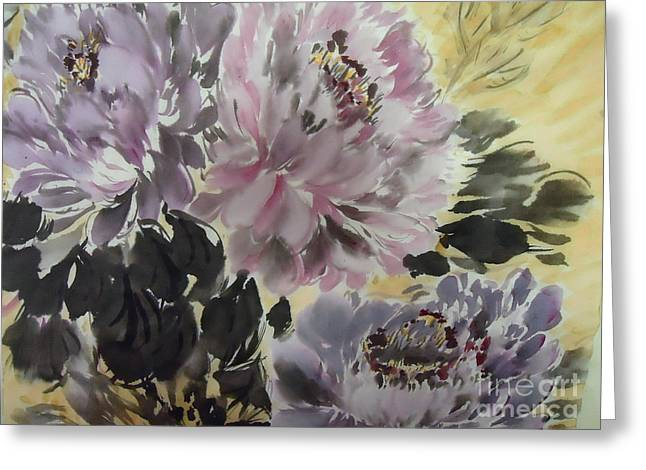 Purple Dark Peony Greeting Card