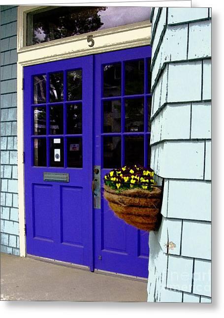 Purple Doors Greeting Card