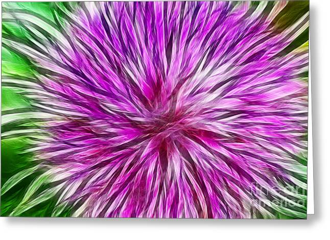 Purple Flower Fractal Greeting Card