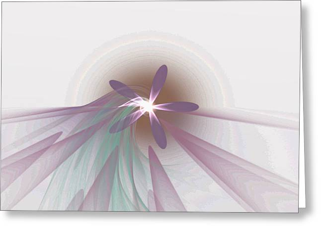 Purple Fractal Flower Greeting Card by Gina Lee Manley