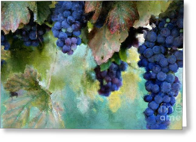 Purple Grapes Greeting Card by Susan Holsan