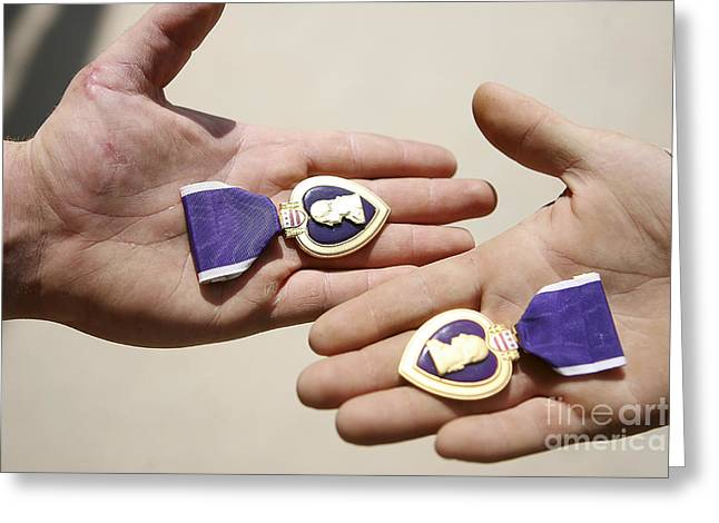 Purple Heart Recipients Display Greeting Card by Stocktrek Images