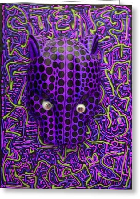 Purple Jaguar Head Greeting Card