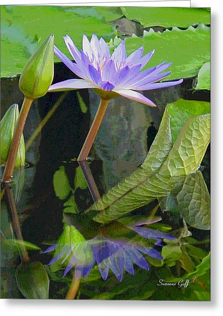 Purple Lotus Greeting Card by Suzanne Gaff