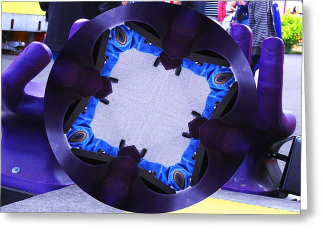 Greeting Card featuring the photograph Purple Magic Fingers Chair by Kym Backland