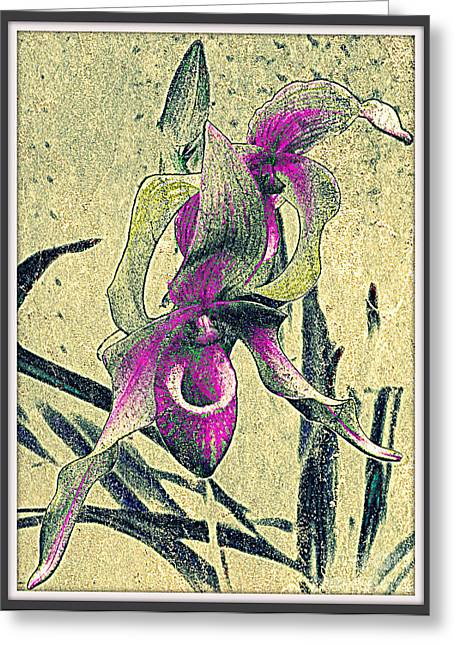 Greeting Card featuring the mixed media Purple Orchid  by Irina Hays