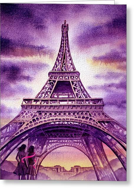 Purple Paris Greeting Card by Irina Sztukowski