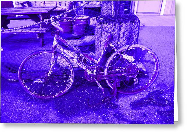 Purple Rusty Bicycle Greeting Card by Kym Backland