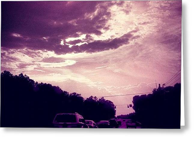 #purple #sky #clouds #driving Greeting Card