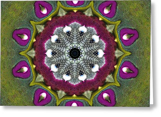Greeting Card featuring the digital art Purple Snakeskin Flower by Alec Drake