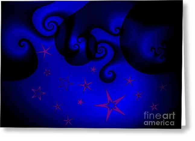 Purple Stars On Blue Swirls Planet Greeting Card