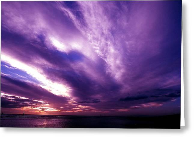 Purple Sunset Greeting Card by Erika Swartzkopf