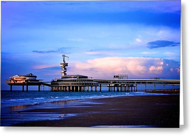 Purple Sunset Pier Greeting Card by Catherine Murton